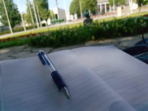 A notebook on my lap in the park. I love summer when I can write anywhere.